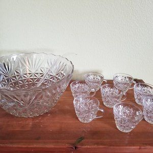 Glass Punch Bowl and Eight Cups